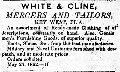 "Newspaper ad for White & Cline, ""mercers and tailors,"" New Era, 6 Sept., 1862. University of Florida Digital Collections.Picture"
